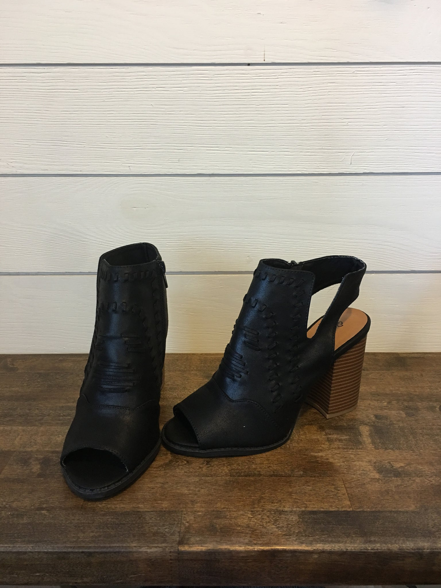 Black Bootie with Open Toe & Heel