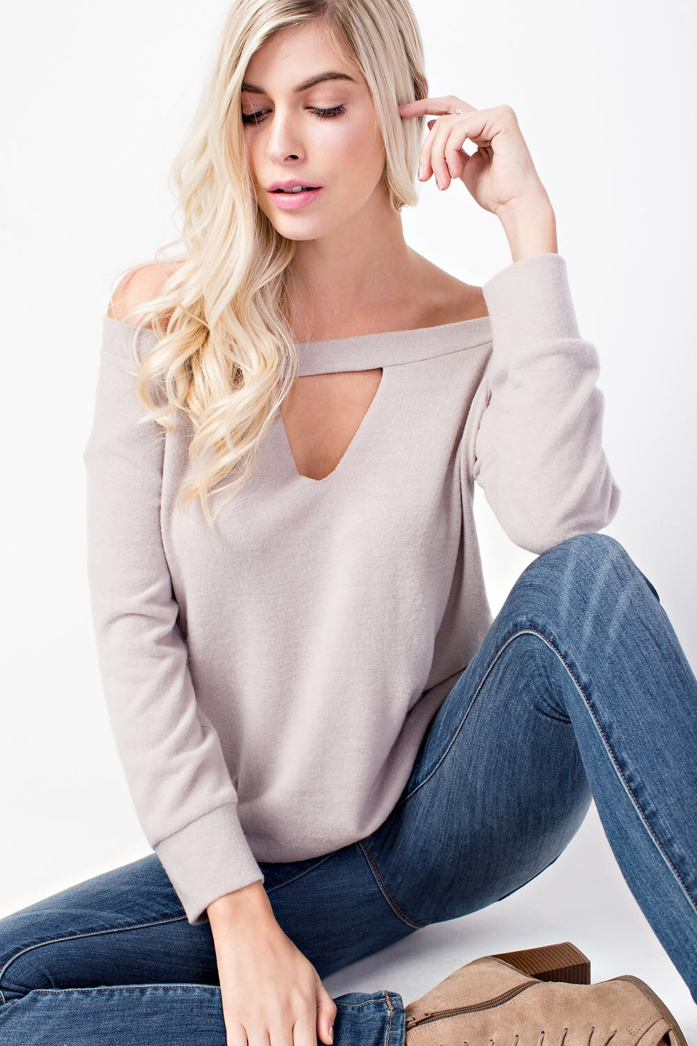 Hacci Brushed, Off Shoulder Top