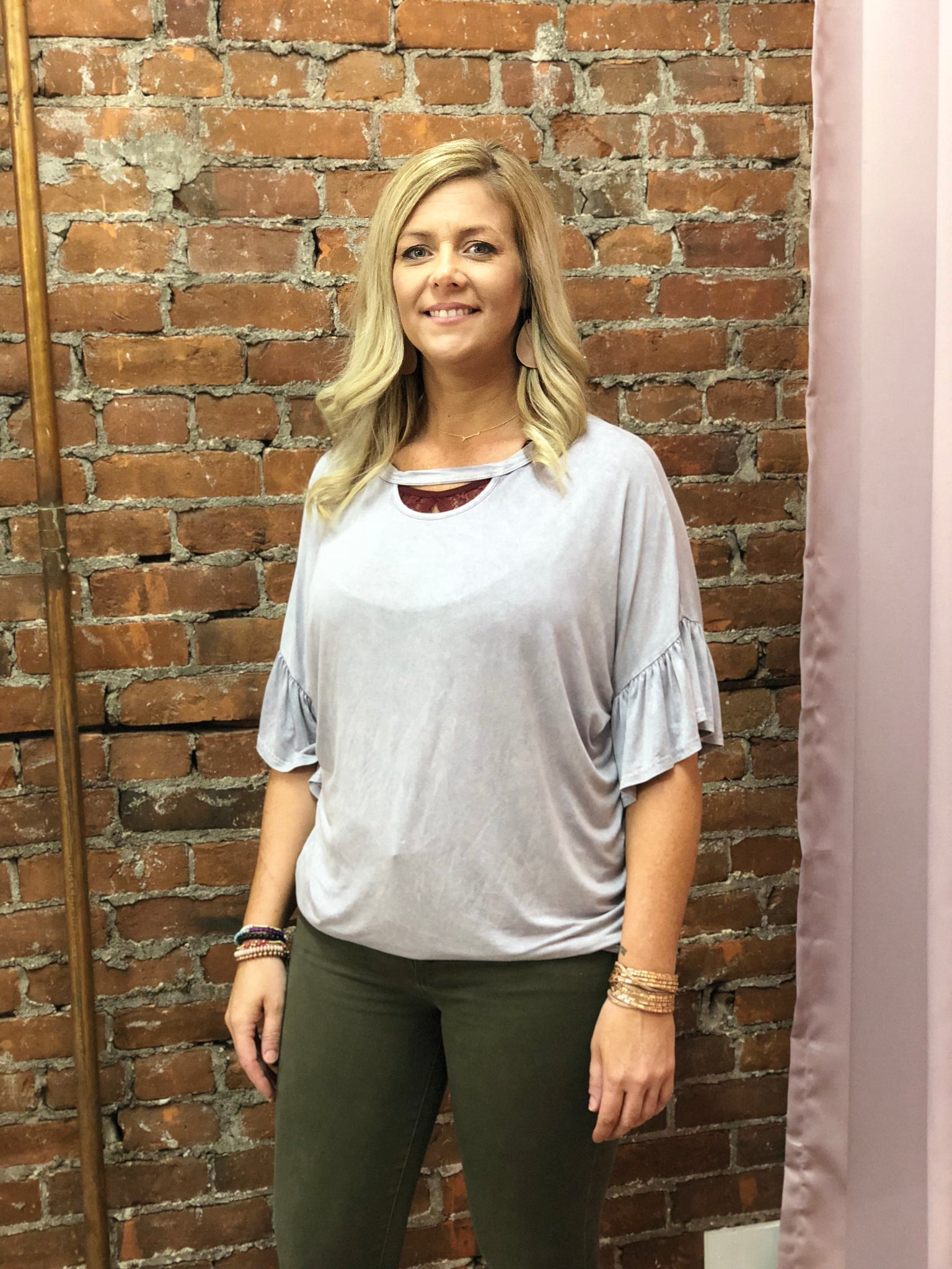 Mineral Washed Knit Top with Round Neckline with Front Cutout and 3/4 Ruffled Dolman Sleeves