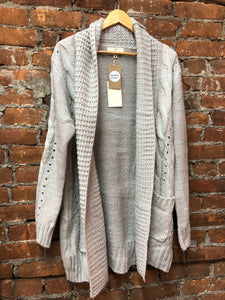 Open Front Cozy Sweater Cardigan with Ribbed Trim and Mid Length Side Pocket