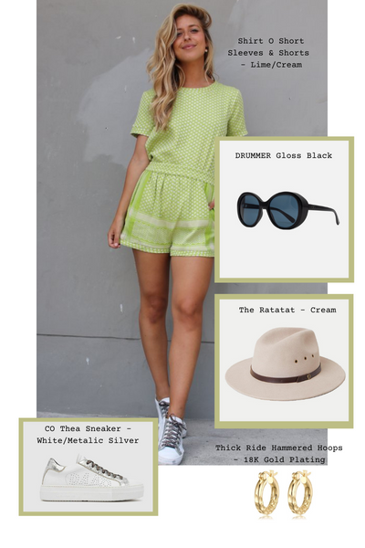 Shirt O Short Sleeves & Shorts in Lime/Cream