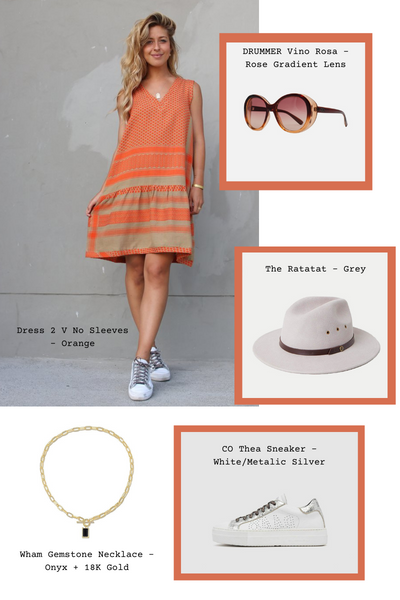 Orange 2 V No Sleeves dress with the Thea sneakers and the neutral grey Ratatat hat