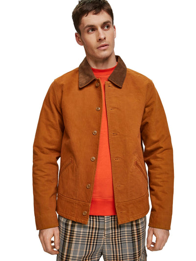 Scotch & Soda Moleskin Jacket With Corduroy Details - Noix