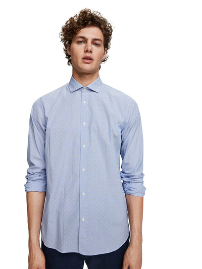 Regular Fit- Classic Dress Shirt In Blue - Combo D