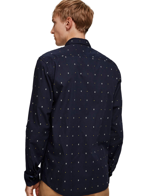 Scotch & Soda Regular Fit- Classic All-Over Printed Pochet Shirt -Combo A