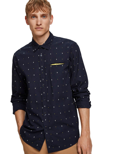 Regular Fit- Classic All-Over Printed Pocket Shirt - Combo A
