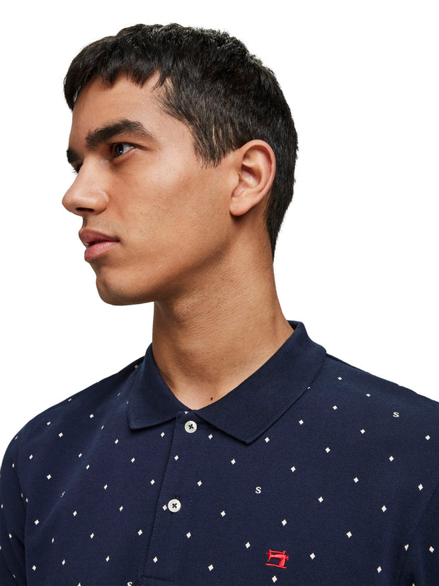 Scotch & Soda Pique Polo With All-Over Print -Combo B