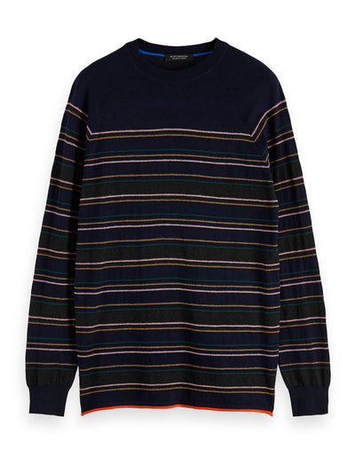 Cashmere-Blend Crewneck Pull With Placement Stripe Pattern - Combo B