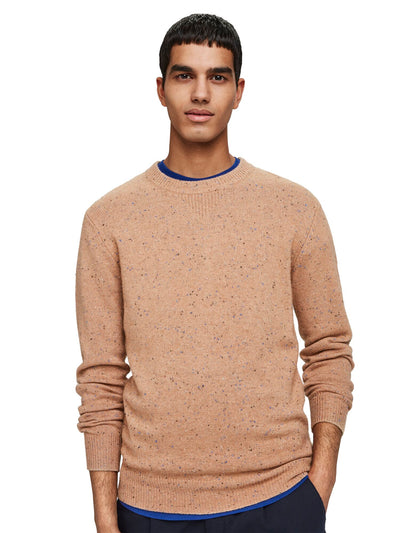 Classic Wool-Blend Crewneck Pull With Neps - Camel Melange
