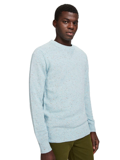 Classic Wool-Blend Crewneck Pull With Neps - Sky Blue Melange
