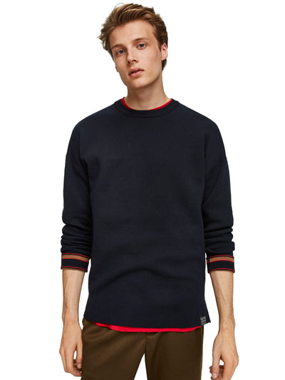 Reversible Crewneck Pull With Dropped Shoulder Styling - Combo B