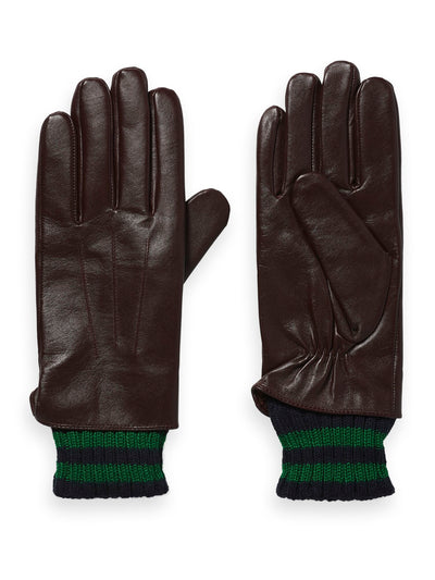 Double-Layered Leather And Knitted Gloves - Brown