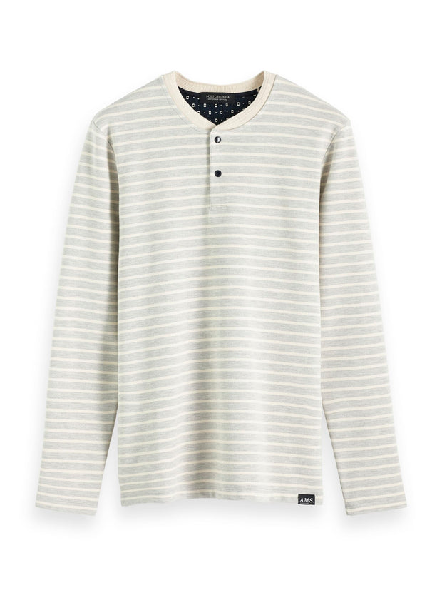 Scotch & Soda Longsleeve Grandad Tee In Waffle Structured Quality -Combo A