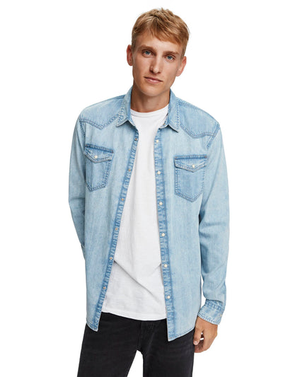 Denim Shirt In Seasonal Washes - Bleached Indigo