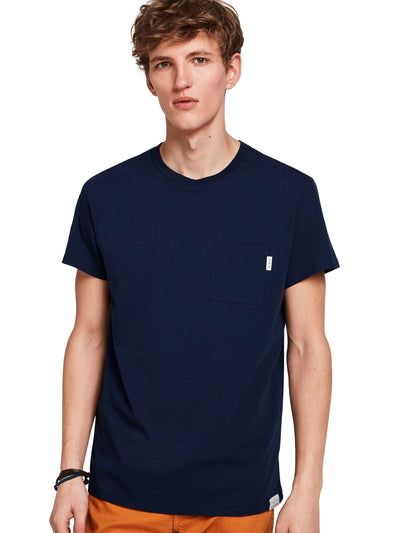 Ams Blauw Pocket Tee In Seasonal Colours - Navy
