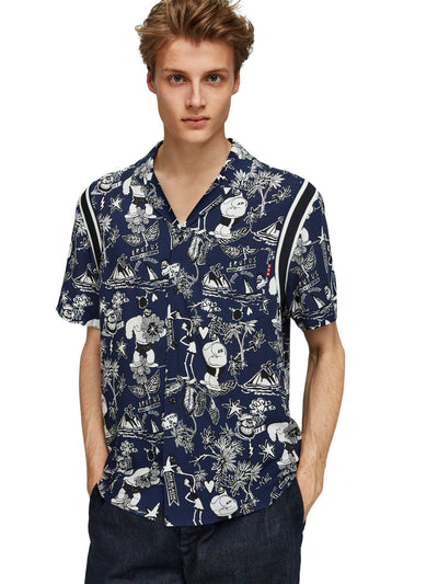 Brutus Ams Blauw Colab Hawaiian Fit Shirt With Rib Inserts - Combo B
