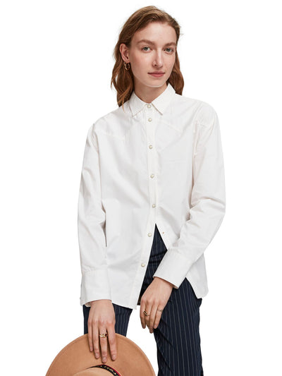 Scotch & Soda Classic Boyfriend Shirt With Western Detailing - White
