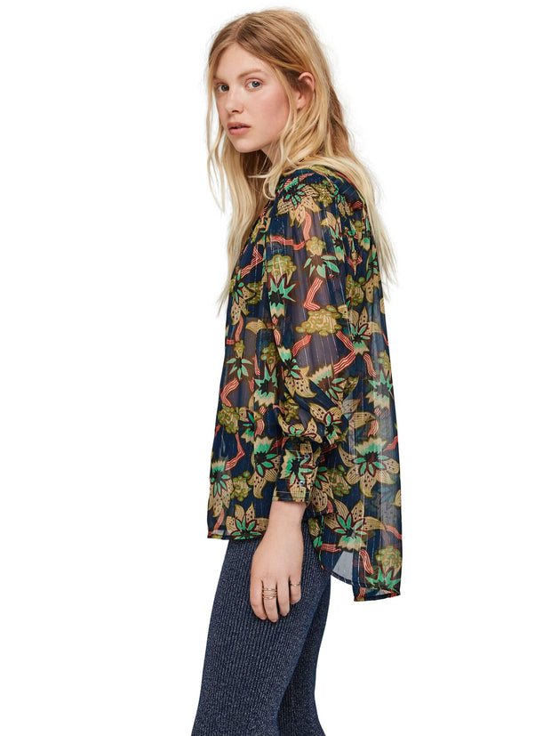 Relaxed Fit Sheer Printed Shirt With Lurex Stripe - Combo M
