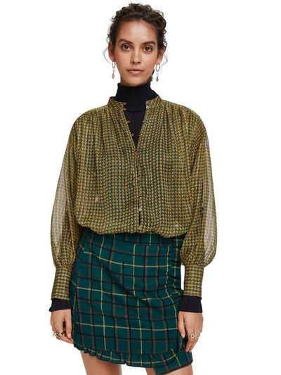 Relaxed Fit Sheer Printed Shirt With Lurex Stripe - Combo O