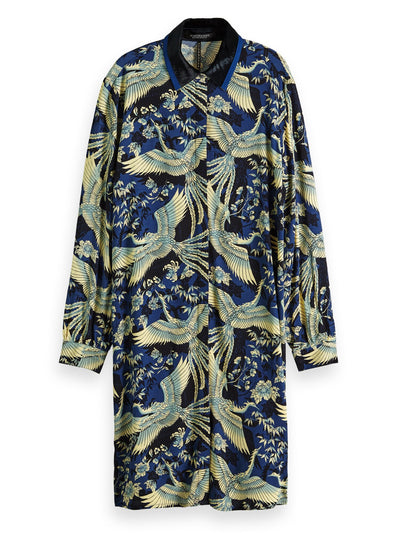 Printed Shirt Dress With Contrast Collar - Combo M