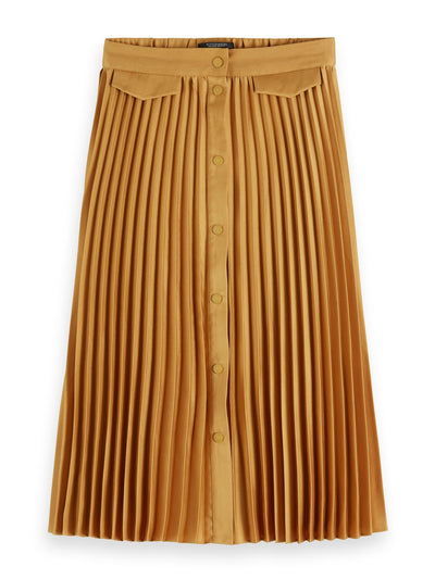 Pleated Midi Skirt With Placket - Honey