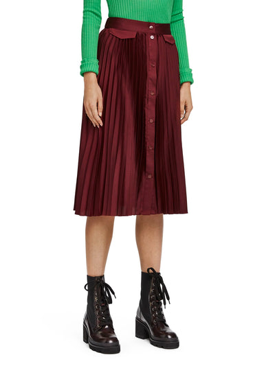 Pleated Midi Skirt With Placket - Aubergine