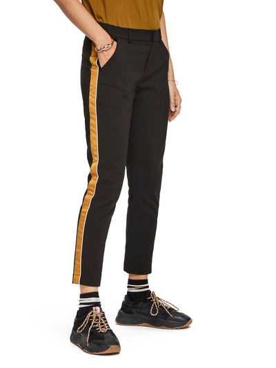 Scotch & Soda Tailored Stetch Pants With Contrast Side Panel - Black