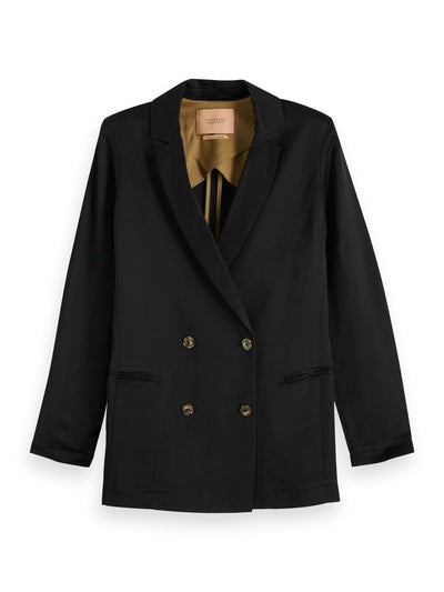 Double Breasted Blazer In Viscose - Linen Blend - Black