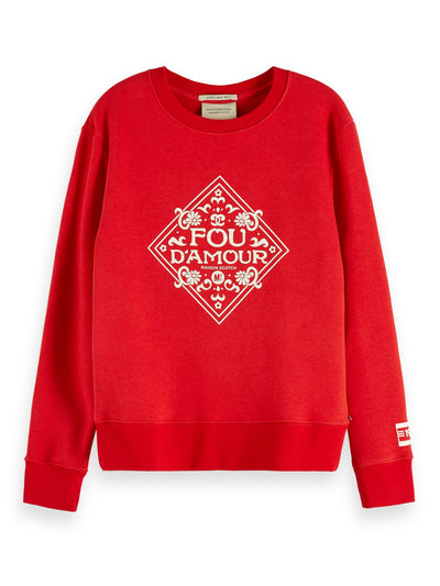 Crewneck Sweat With Artworks - Mars Red