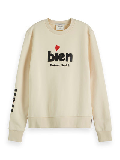 Crewneck Sweat With French Inspired Artworks - Antique White