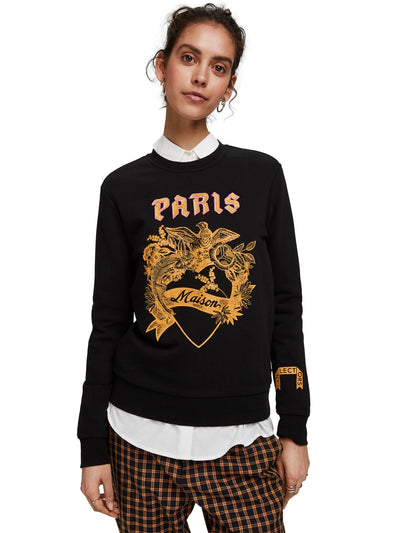 Scotch & Soda Crewneck Sweat With Toile Artwork - Black