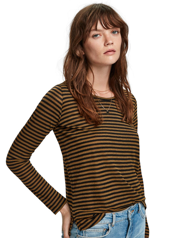 Scotch & Soda Basic Long Sleeve Tee In Lurex Stripe - Combo D