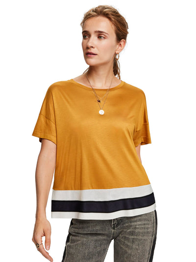 Scotch & Soda Cropped Short Sleeve Tee With Rib Bottom Hem - Wild Honey