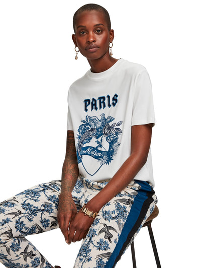 Scotch & Soda Short Sleeve Tee With Toile Artwork - White