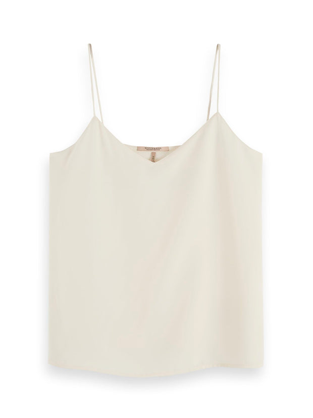 Scotch & Soda Jersey And Woven Mixed Tank Top - Antique White