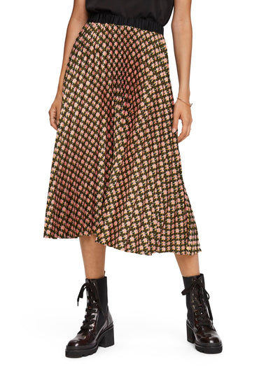 Printed Pleated Midi Length Skirt - Combo N