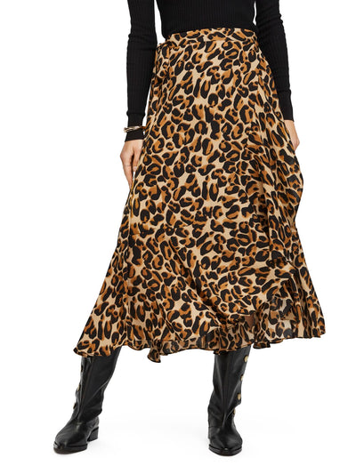 Animal Printed Ruffle Skirt With High Low Hem - Combo D