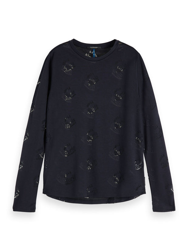 Scotch & Soda Long Sleeve Burnout Tee - Night