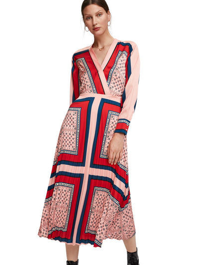 Printed Pleated Midi Length Dress With V-Neck - Combo Q