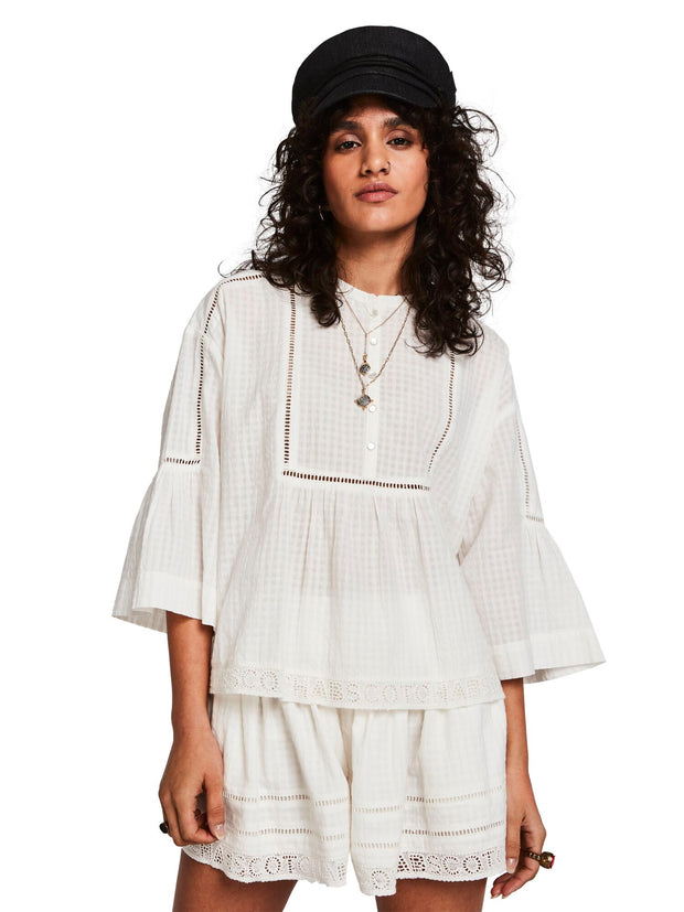 Scotch & Soda Loose Fitted Top With Special Lace-Tape Detail - Off White