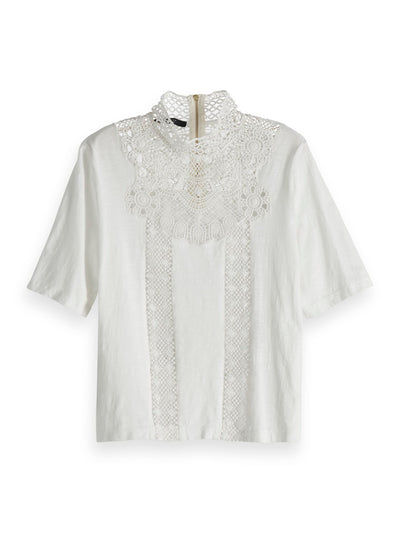 Scotch & Soda Short Sleeve Tee With Special Lace Patch - Off White