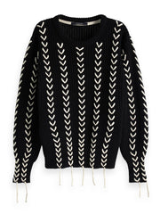 Chunky Cotton Mix Pull With Special Details - Black