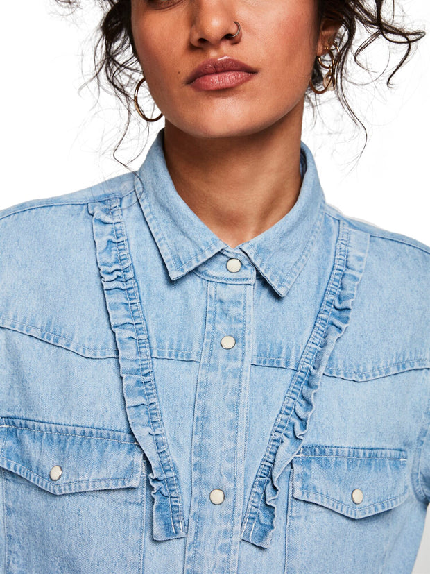 Scotch & Soda Bleached Out Clean Denim Western Shirt With Frill Details - Indigo