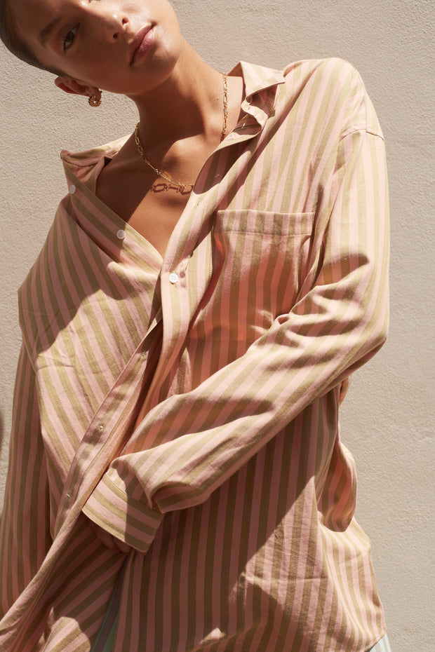 Tina Shirt - Pink/Brown Stripe