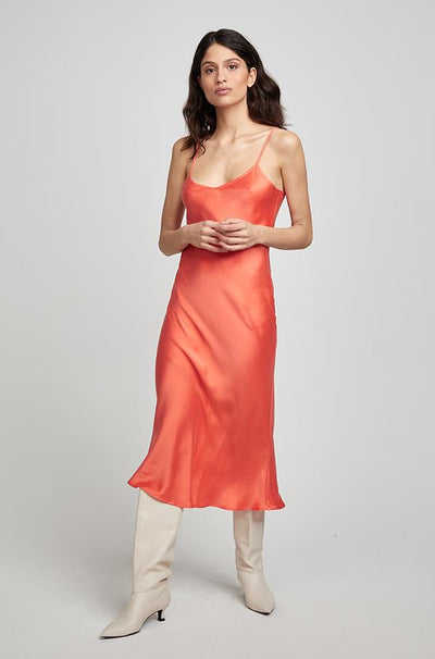 90s Silk Slip Dress - Coral