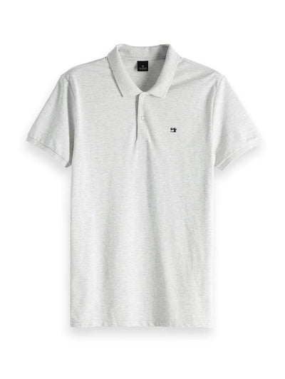 Scotch & Soda Classic Pique Polo - Light Grey Melange