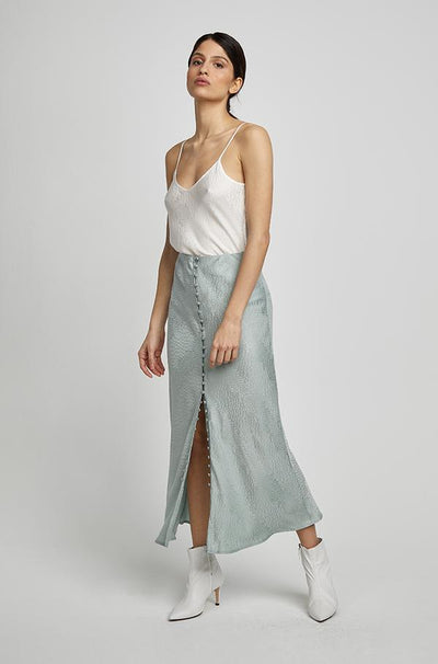Button Up Bias Cut Skirt - Eucalyptus Jacquard
