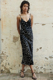 90s Silk Slip Dress - Broken Dot