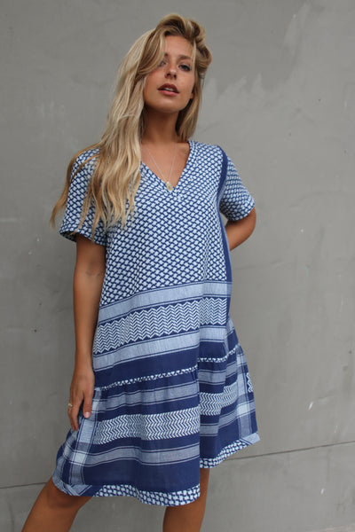 Dress 2 V Short Sleeves - Twillight Blue
