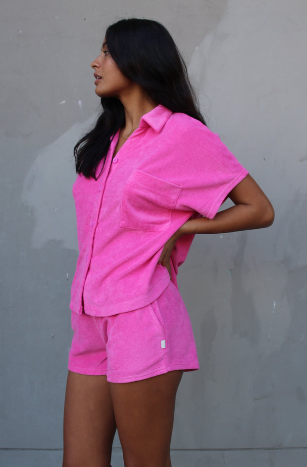 Terry Towelling Shirt Set - Candy Pink
